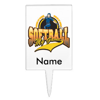 Womens Softball My Game Cake Toppers