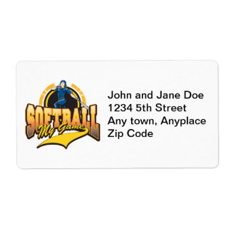 Womens Softball My Game Shipping Label