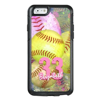 Women's Softball Pink Bright Yellow Otterbox Iphone 6/6s Case by katz_d_zynes at Zazzle