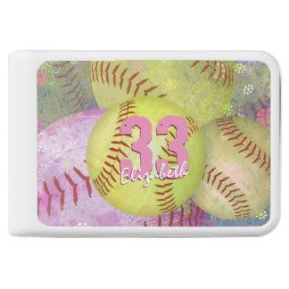 Women's softball pink bright yellow power bank