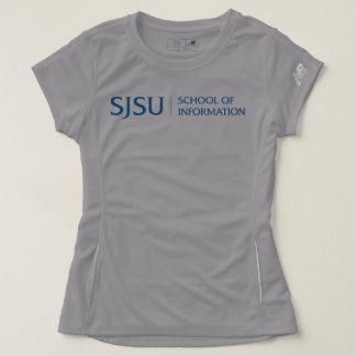 Women's sport t-shirt - gray with blue logo