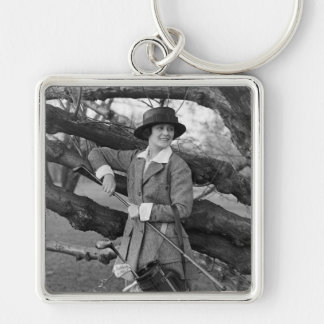 Women's Style in Golf Attire, early 1900s Keychain