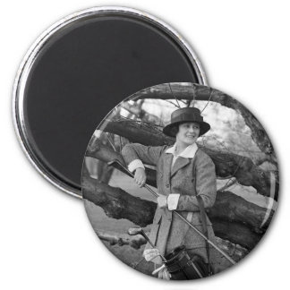 Women's Style in Golf Attire, early 1900s 2 Inch Round Magnet