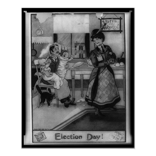 Women's Suffrage Election Day Illustration Poster