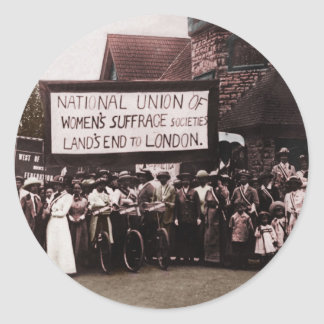 Women's Suffrage Group with Banner Classic Round Sticker
