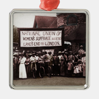 Women's Suffrage Group with Banner Square Metal Christmas Ornament