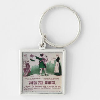 Women's Suffrage Poster Silver-Colored Square Keychain
