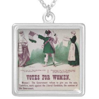 Women's Suffrage Poster Square Pendant Necklace