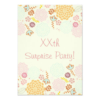 Womens' Suprise Birthday Party Fancy Modern Floral 5x7 Paper Invitation Card