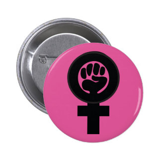 Women's symbol with fist pinback button