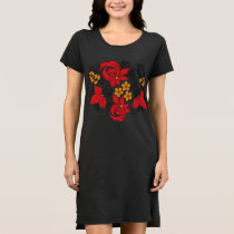 Women's T-Shirt Black Floral Dress