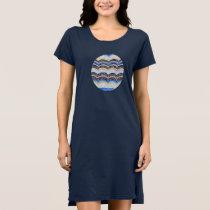 Women's T-shirt dress with blue mosaic