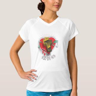Womens T -Shirt V-neck Music Faith Love Playera