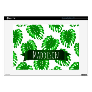 "Womens Teen Girls Green Tropical Leaf Personalized 15"" Laptop Skin"