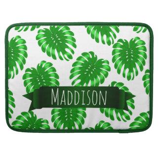 Womens Teen Girls Green Tropical Leaf Personalized MacBook Pro Sleeve
