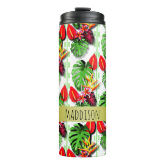 Women's Teen Girls Personalized Tropical Leaf Thermal Tumbler