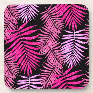 Womens Teen Girls Pink Palm Tree Leaf Faux Glitter Drink Coaster