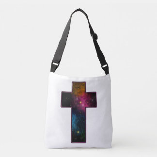 Women's Teen Girls Trendy Christian Cross Galaxy Crossbody Bag