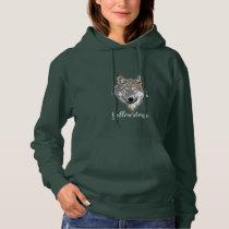 Women's Top Hooded Sweatshirt Yellowstone Wolf
