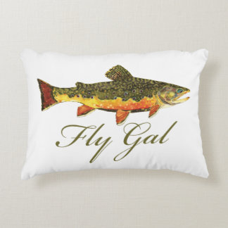 Women's Trout Fishing Accent Pillow