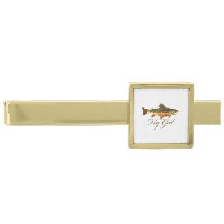 Women's Trout Fishing Gold Finish Tie Bar