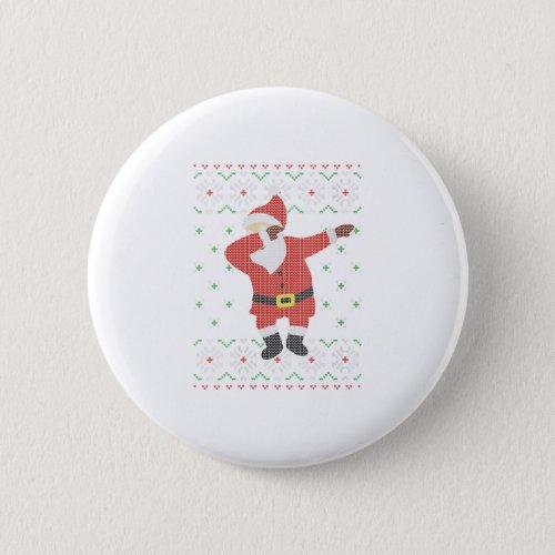 Womens Ugly Christmas Sweater Santa Dab Button
