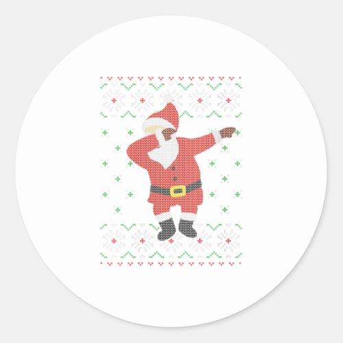 Womens Ugly Christmas Sweater Santa Dab Classic Round Sticker