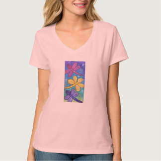 Women's v neck Tee  -Dragonflies at Play
