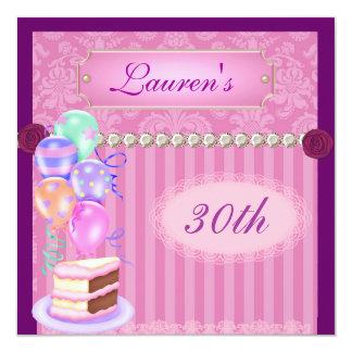 "Women's Vintage Pink Damask 30th Birthday Invitati 5.25"" Square Invitation Card"