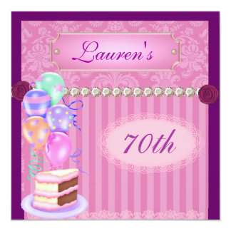 "Women's Vintage Pink Damask 70th Birthday Invitati 5.25"" Square Invitation Card"