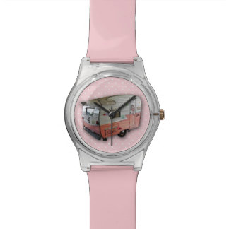 Womens vintage pink shasta trailer watch