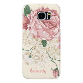 Womens Vintage Rose Floral Pattern Samsung Galaxy S6 Case