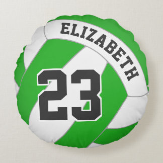 women's volleyball any color with her name round pillow
