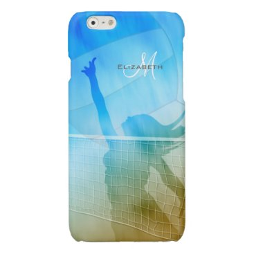 Beach Themed women's volleyball at the beach sand surf sky glossy iPhone 6 case