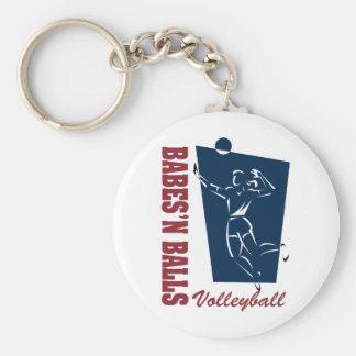 Women's Volleyball Basic Round Button Keychain