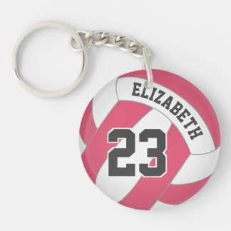 women's volleyball her name any color duffel tag keychain