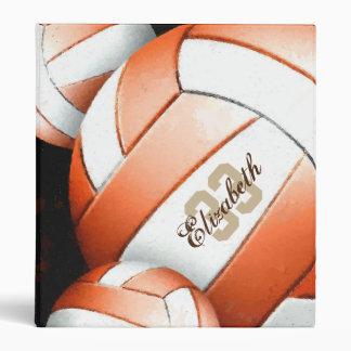 Women's Volleyball Orange White Black Binder