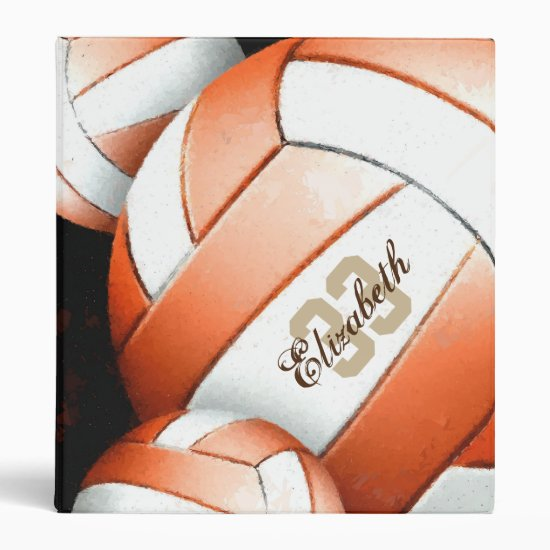 Women's Volleyball Orange White Black Binder
