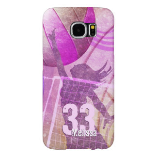 Women's Volleyball Player pink purple Samsung Galaxy S6 Case