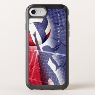 women's volleyball red white and blue custom name speck iPhone case