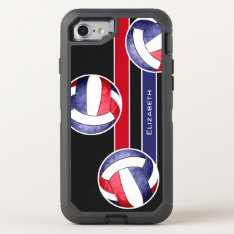 Women's Volleyball Red White Blue Otterbox Defender Iphone 7 Case at Zazzle