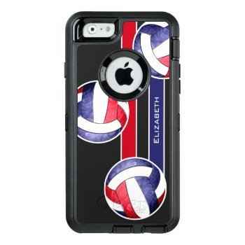 Women's Volleyball Red White Blue Otterbox Defender Iphone Case by katz_d_zynes at Zazzle