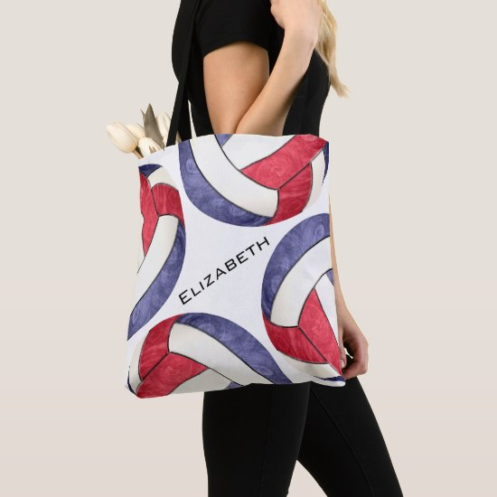 women's volleyball red white blue tote bag