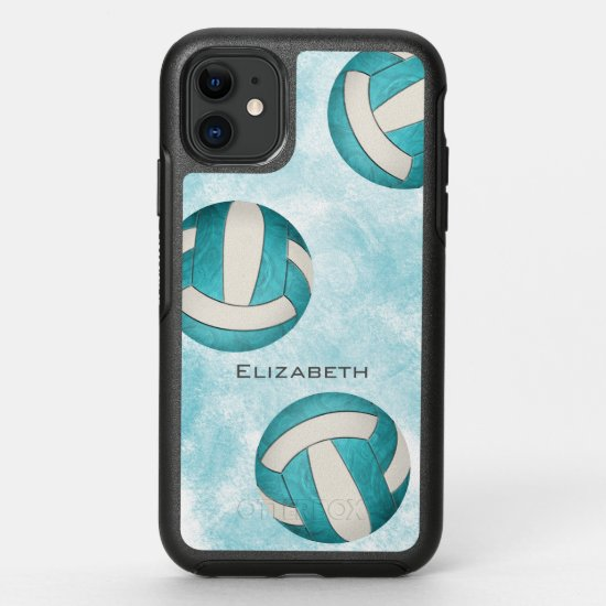 Women's volleyball turquoise white abstract OtterBox symmetry iPhone 11 case