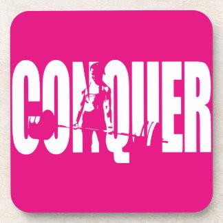 Women's Weightlifting Motivation - CONQUER Beverage Coaster