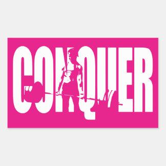 Women's Weightlifting Motivation - CONQUER Rectangular Sticker
