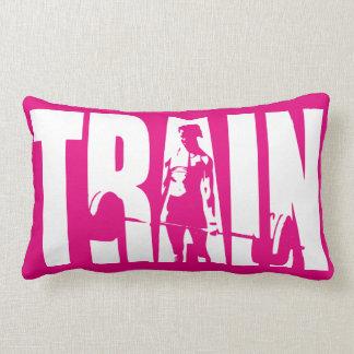 Women's Weightlifting Motivation - TRAIN Throw Pillow