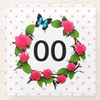 Womens Whimsical Rose 50th 60th 70th 80th Birthday Glass Coaster
