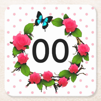 Womens Whimsical Rose 50th 60th 70th 80th Birthday Square Paper Coaster