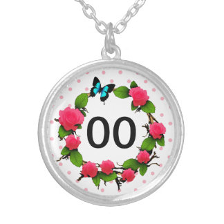 Womens Whimsical Rose 85th 88th 89th 90th Birthday Silver Plated Necklace